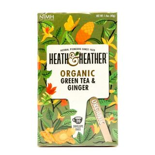 Heath & Heather Organic Green Tea with Ginger - 20 Bags