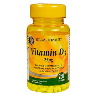 Holland & Barrett Vitamina D3 25μg - 250 Comprimidos