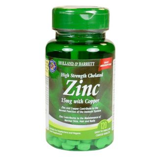 Holland & Barrett Zinc 15mg con Cobre Quelatos Alta Potencia - 120 Comprimidos